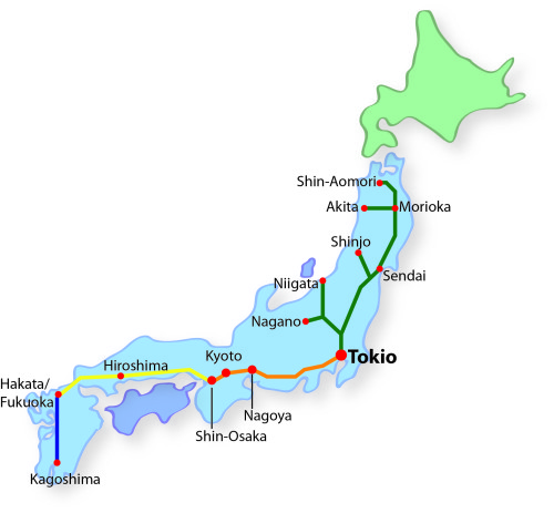Japan Rail Pass Shinkansen Karte